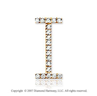 14k Yellow Gold Prong Diamond Large ^I^ Initial Pendant