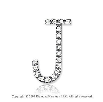 14k White Gold Prong Diamond Large ^J^ Initial Pendant