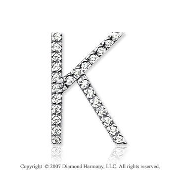 14k White Gold Prong Diamond Large ^K^ Initial Pendant