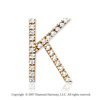 14k Yellow Gold Prong Diamond Large ^K^ Initial Pendant