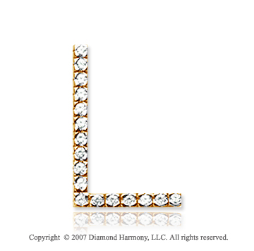 14k Yellow Gold Prong Diamond Large ^L^ Initial Pendant
