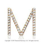 14k Yellow Gold Prong Diamond Large ^M^ Initial Pendant