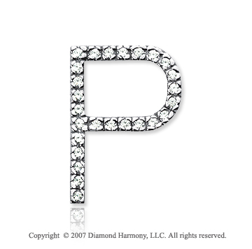 14k White Gold Prong Diamond Large ^P^ Initial Pendant