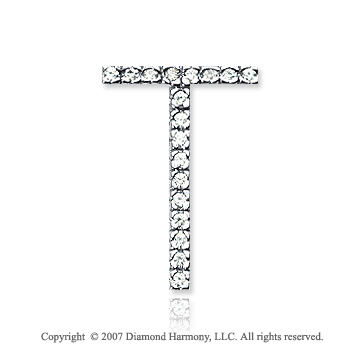 14k White Gold Prong Diamond Large ^T^ Initial Pendant
