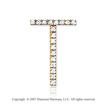 14k Yellow Gold Prong Diamond Large ^T^ Initial Pendant
