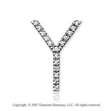 14k White Gold Prong Diamond Large ^Y^ Initial Pendant