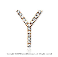 14k Yellow Gold Prong Diamond Large ^Y^ Initial Pendant