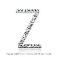 14k White Gold Prong Diamond Large ^Z^ Initial Pendant