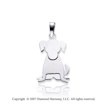 14k White Gold Charming Lovable Kids Dog Charm Pendant