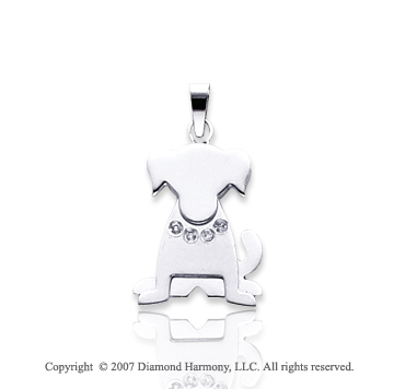 14k White Gold Bezel Diamond Kids Dog Charm Pendant