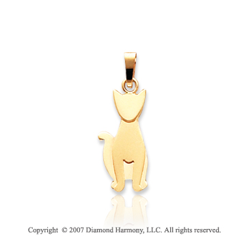 14k Yellow Gold Slick Adorable Kids Cat Charm Pendant