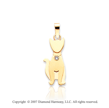 14k Yellow Gold Bezel Diamond Kids Cat Charm Pendant