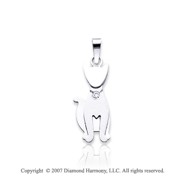 14k White Gold Bezel Round Diamond Kids Cat Pendant