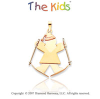 14k Tri Tone Gold Lovely Skiing Girl Joy Charm Pendant