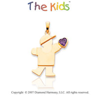 14k Yellow Gold Boy February Purple Birthstone Pendant