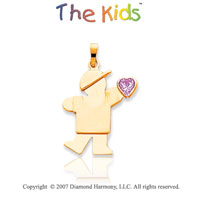 14k Yellow Gold Boy June Violet Birthstone Pendant