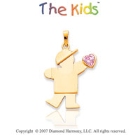14k Yellow Gold Boy October Pink Birthstone Pendant