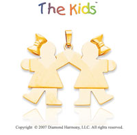 14k Yellow Gold Cute Sisters Ribbon Kiss Large Pendant