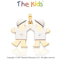 14k Two Tone Gold Cute Brothers Small Diamond Pendant