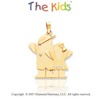 14k Yellow Gold Brother and Sister Diamond Pendant