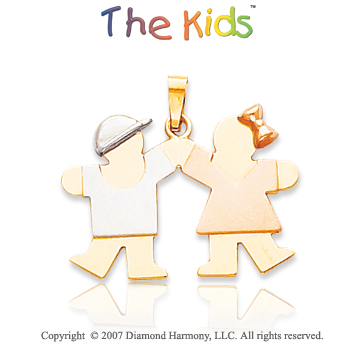 14k Tri Tone Gold Cute Siblings Lovely Small Pendant