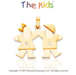 14k Yellow Gold Sister and Brother Fun Diamond Pendant