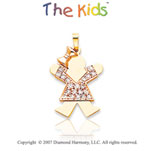 14k Two Tone Gold Bright Little Girl Diamond Pendant