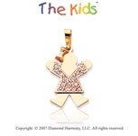 14k Two Tone Gold Bright Girl Small Diamond Pendant