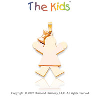 14k Two Tone Gold Adorable Little Girl Joy Pendant