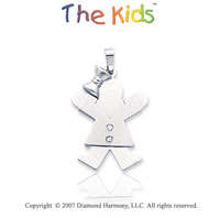 14k White Gold Charming Little Girl Joy Diamond Pendant