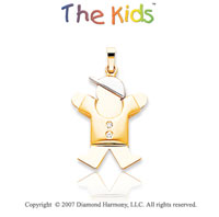 14k Two Tone Gold Fun Little Boy Bezel Diamond Pendant