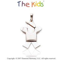 14k White Gold Fun Adorable Little Boy Joy Pendant