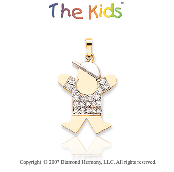 14k Two Tone Gold Sweet Little Boy Diamond Joy Pendant