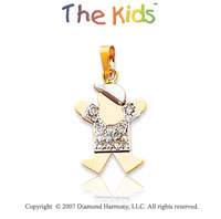 14k Two Tone Gold Cute Little Boy Bezel Diamond Pendant