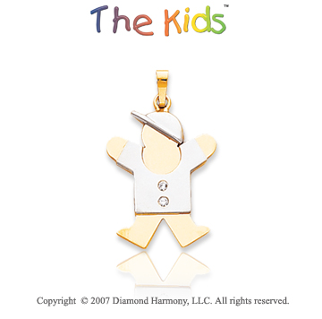 14k Two Tone Gold Little Boy Joy Round Diamond Pendant