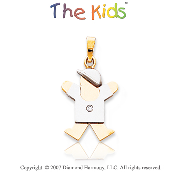 14k Two Tone Gold Little Boy Joy Bezel Diamond Pendant
