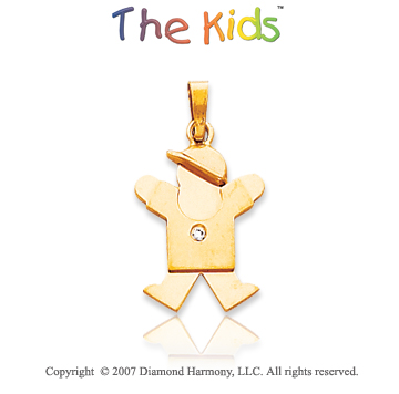 14k Yellow Gold Sweet Little Boy Bezel Diamond Pendant