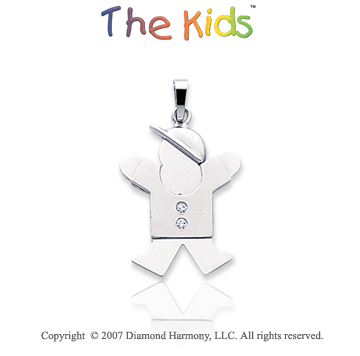 14k White Gold Sweet Little Boy Bezel Diamond Pendant