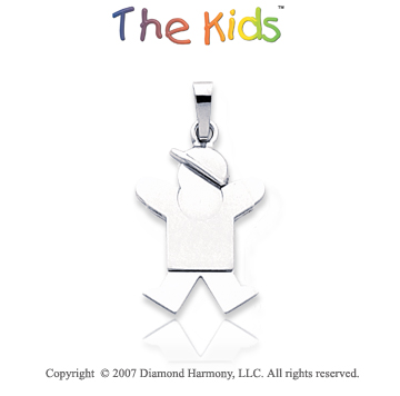 14k White Gold Adorably Cute Little Boy Small Pendant