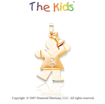 14k Two Tone Gold Charming Little Girl Diamond Pendant