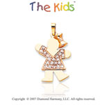 14k Two Tone Gold Cheerful Little Girl Diamond Pendant