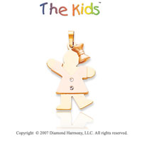 14k Two Tone Gold Sweet Little Girl Diamond Pendant