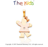 14k Two Tone Gold Little Girl Bezel Diamond Pendant