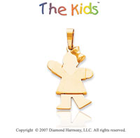 14k Yellow Gold Cute Little Girl Sweet Kiss Pendant