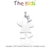 14k White Gold Cute Little Girl Sweet Kiss Pendant