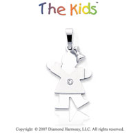 14k White Gold Cute Girl Sweet Kiss Diamond Pendant