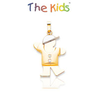 14k Two Tone Gold Adorable Little Boy Diamond Pendant