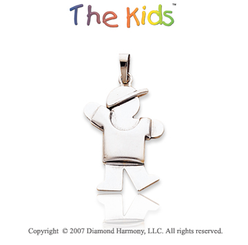14k White Gold Charming Little Boy Sweet Kiss Pendant