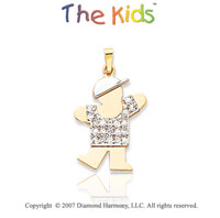 14k Two Tone Gold Cute Little Boy Large Diamond Pendant