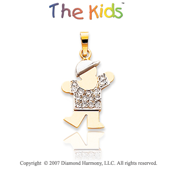 14k Two Tone Gold Cute Little Boy Small Diamond Pendant